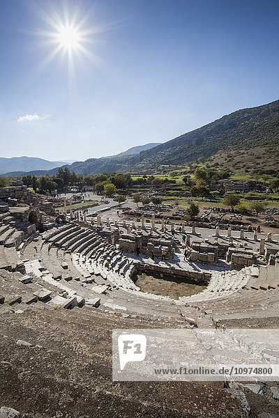 'Ruins of a theatre built in the second century; Ephesus  Izmir  Turkey'
