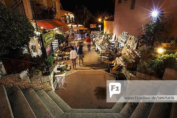 'Open air market at nighttime; San Teodoro  Sardinia  Italy'
