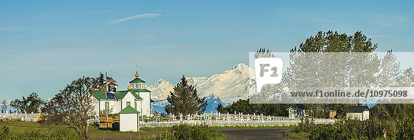 The Transfiguration of Our Lord Russian Orthodox Church in Ninlichik with Mt. Iliamna in the background  Kenai Peninsula  Southcentral Alaska  summer