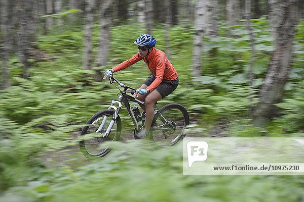 Woman mountain biker rides single track trails at Kincaid Park in Anchorage  Alaska