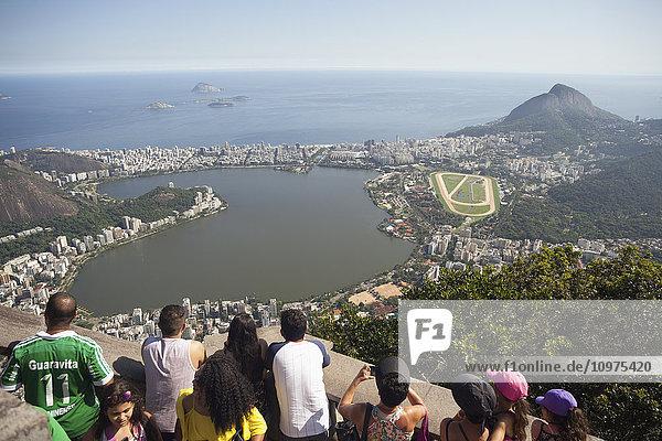 'View of Jockey Club  Leblon  Ipanema and Rodrigo de Freitas Lake from Christ the Redeemer statue  Corcovado mountain  Tijaca National Park; Rio de Janeiro  Brazil'