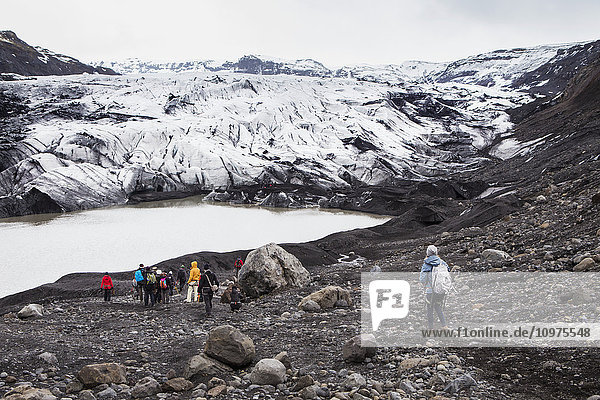 'Hiking through the Solheimajokull glacier; Solheimajokull  Iceland'