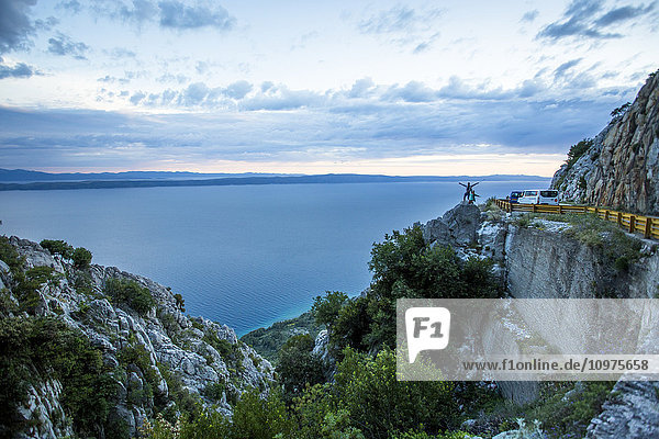 'The stunning high altitude cliffside roads along the coastline of Croatia; Podgora  Croatia'