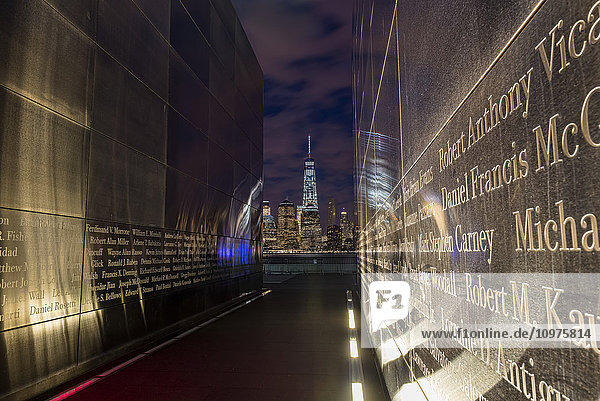 'Empty Sky: New Jersey September 11th Memorial at sunset  Liberty State Park; Jersey City  New Jersey  United States of America'