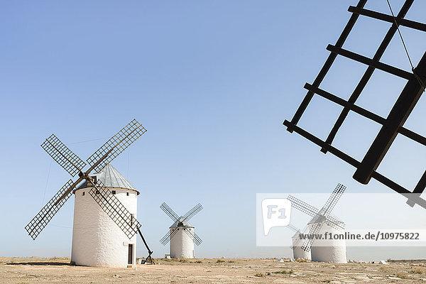'Famous windmills in Campo Criptana  where the stories of Don Quixote come from; Ciudad Real  Castile-La Mancha  Spain'