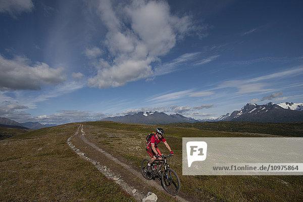 Mountain Biker On The Lost Lake Trail Near Seward  Kenai Peninsula  Southcentral Alaska  Summer