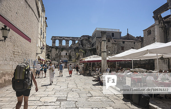 'Tourists on promenade; Split  Croatia'