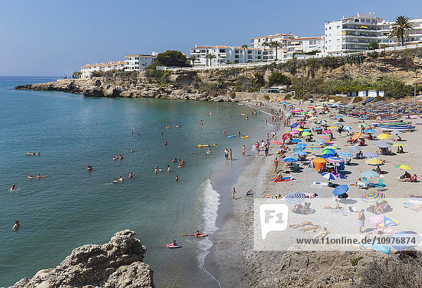 'El Salon beach  Costa del Sol; Nerja  Malaga Province  Andalusia  Spain'