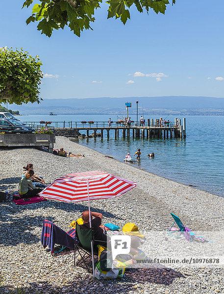 'Beach on shores of Lake Geneva (Lac Leman); Amphion les Bains  Haute-Savoie department  Rhone-Alpes  France'