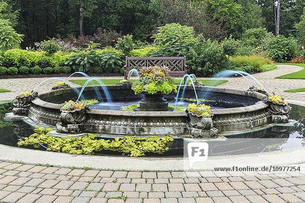 'Fountain in the English Garden of Assiniboine Park; Winnipeg  Manitoba  Canada'