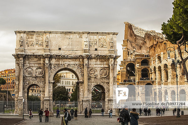 'Arch of Constantine and Colosseum; Rome  Italy' 'Arch of Constantine and Colosseum; Rome, Italy'