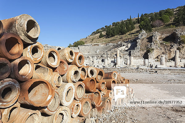 'Baked clay pipes at a ruins site; Ephesus  Turkey' 'Baked clay pipes at a ruins site; Ephesus, Turkey'