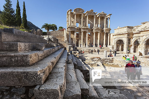 'Tourists at Celsus Library; Ephesus  Izmir  Turkey'