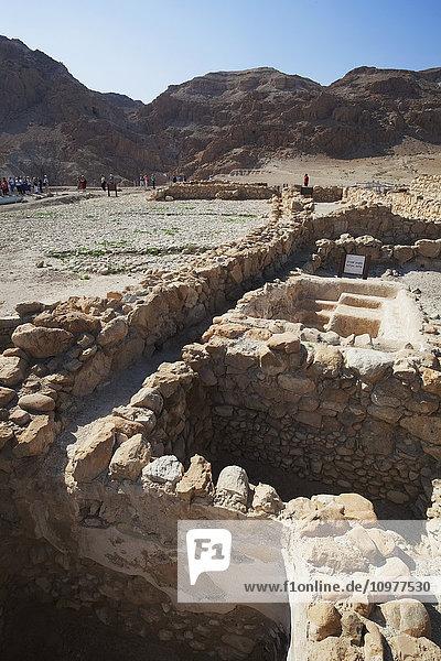 'Tourists visit a site of ancient ruins; Qumran  Israel' 'Tourists visit a site of ancient ruins; Qumran, Israel'