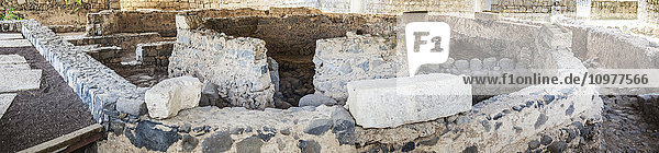 'Ruins believed to be the location of Peter's house  excavated in Capernaum  now protected by a church that is built over it; Capernaum  Israel' 'Ruins believed to be the location of Peter's house, excavated in Capernaum, now protected by a church that is built over it; Capernaum, Israel'