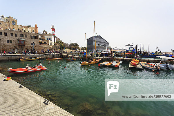 'Boats in the turquoise water in the harbour; Joppa  Israel' 'Boats in the turquoise water in the harbour; Joppa, Israel'