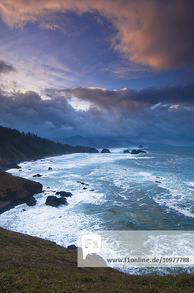 'A morning storm brews on the pacific coast in this view from Ecola State Park  near Cannon Beach; Oregon  United States of America'