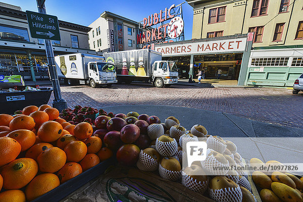 'Fruit on display at Pike Place Market in downtown Seattle; Seattle  Washington  United States of America'