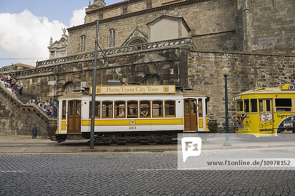 Sightseeing Trolley Cars In Porto  Portugal  Europe