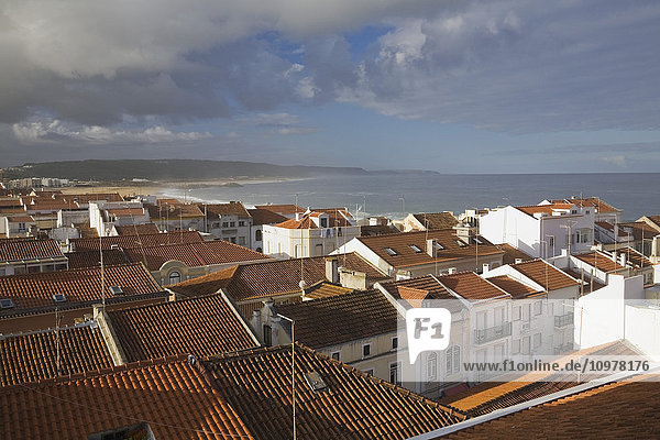 Residential Buildings With Terracotta Rooftops  Navare Beach  Portugal  Europe