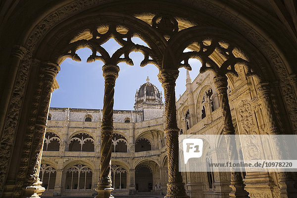 Architectural Details In The Courtyard At Jeronimos Monastery  Lisbon  Portugal  Europe