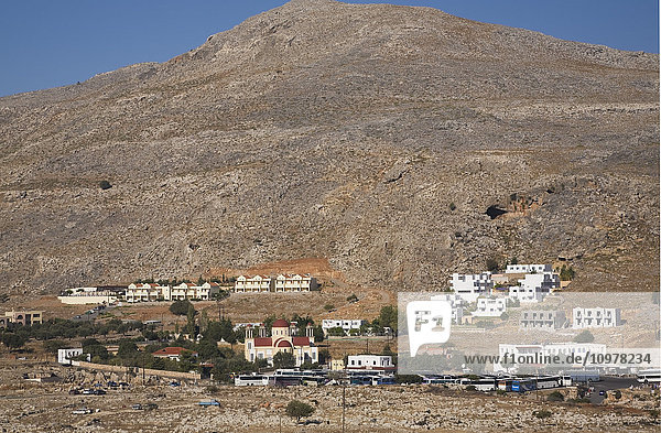 Bus Terminal For Tour Operators In The Town Of Lindos  Rhodes  Greece