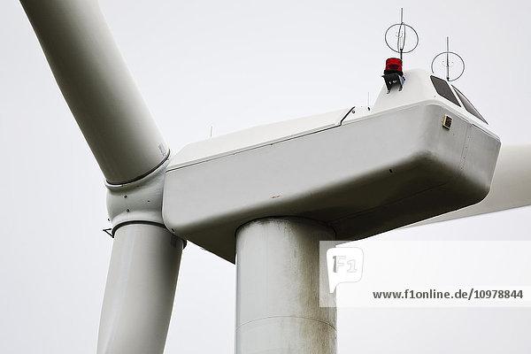 'Wind turbine  nacelle  close up view; Pincher Creek  Alberta  Canada'