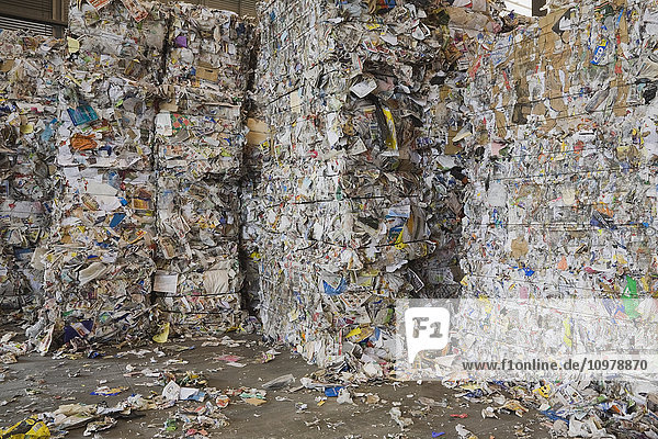 'Bales of recyclable cardboard and paper at a sorting centre; Quebec  Canada'