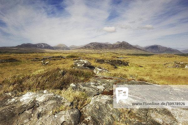 'Bog landscape and the Twelve Bens mountain range; Connemara  County Galway  Ireland'