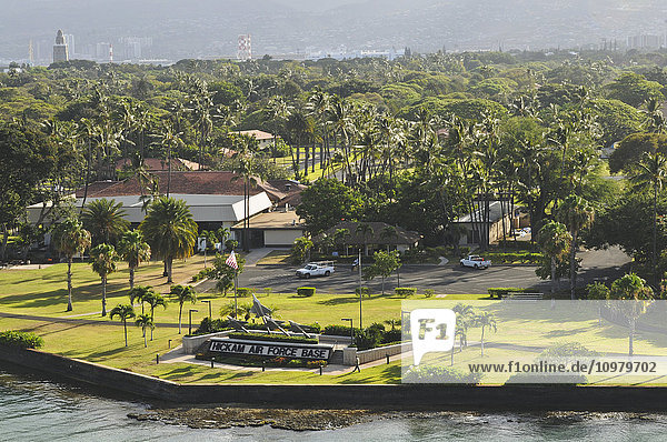 'View of Hickam Air Force Base from a ship in Pearl Harbor; Oahu  Hawaii  United States of America'