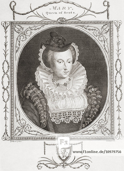 Mary  Queen of Scots  1542 –1587  aka Mary Stuart or Mary I of Scotland. From an 18th century print