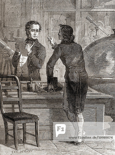 Nicéphore Niépce  whilst still unknown and poor  in Charles Chevalier's optical and instruments shop. Charles Louis Chevalier  1804- 1859. French engineer/optician. Nicéphore Niépce  born Joseph Niépce 1765 – 1833. French inventor of photography. From Les Merveilles de la Science  published c.1870