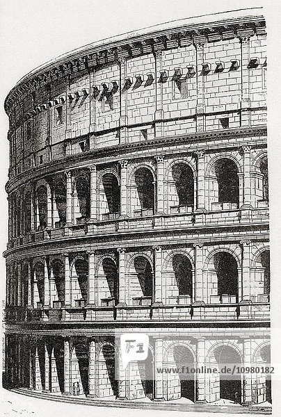 The Colosseum or Coliseum  aka Flavian Amphitheatre  Rome  Italy. A reconstructive drawing based on the ruins. From Kunstgeschichte In Bildern  published 1900.