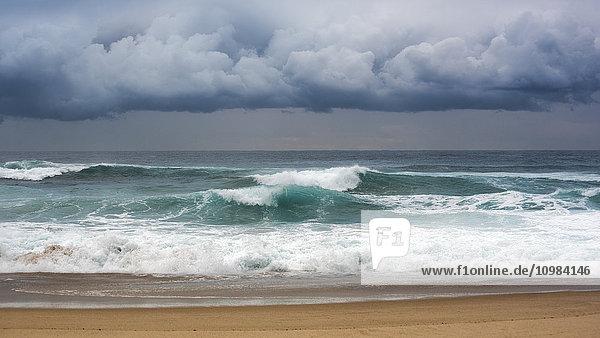 Australien  New South Wales  Sydney  Tasmanische See  Strand  Wellen und dunkle Wolken