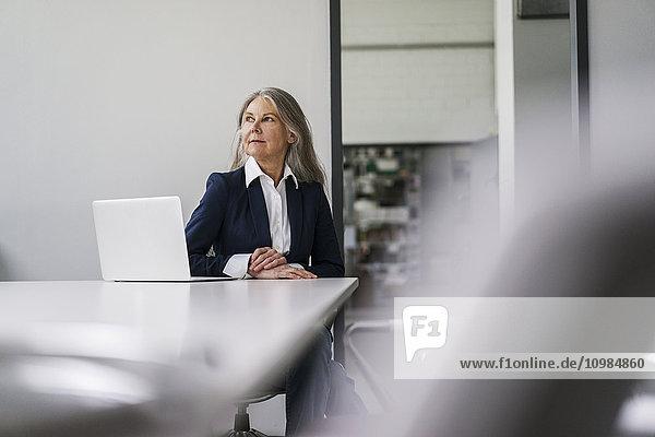 Senior Geschäftsfrau sitzt am Konferenztisch mit Laptop