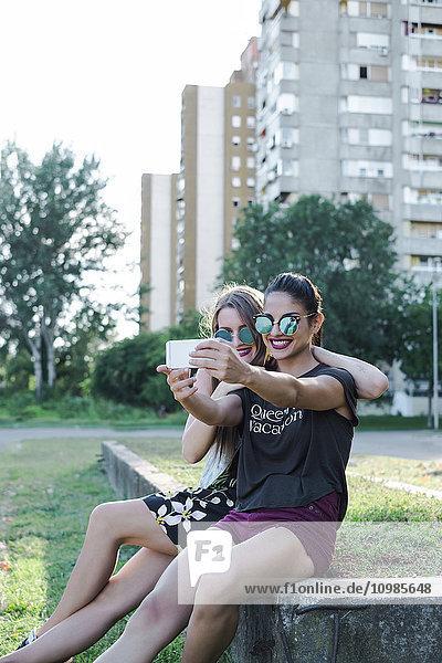 Freunde  die Selfie mit dem Smartphone nehmen
