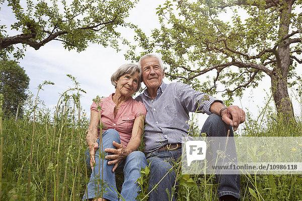 Entspanntes Seniorenpaar auf der Wiese sitzend
