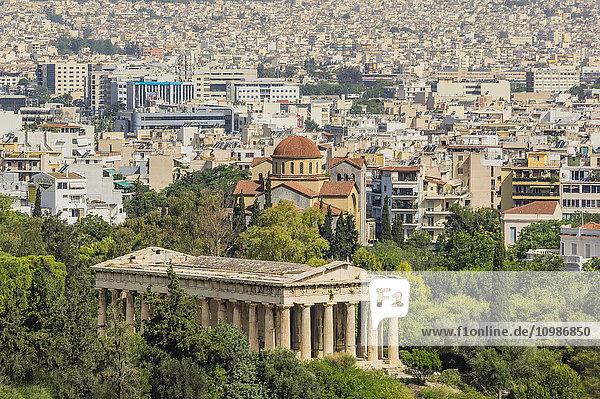 Griechenland  Athen  Hephaestus-Tempel und Stadtbild