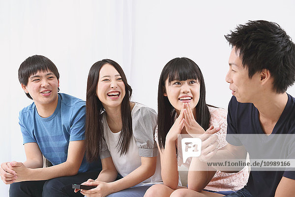 Group of Japanese supporters in the living room
