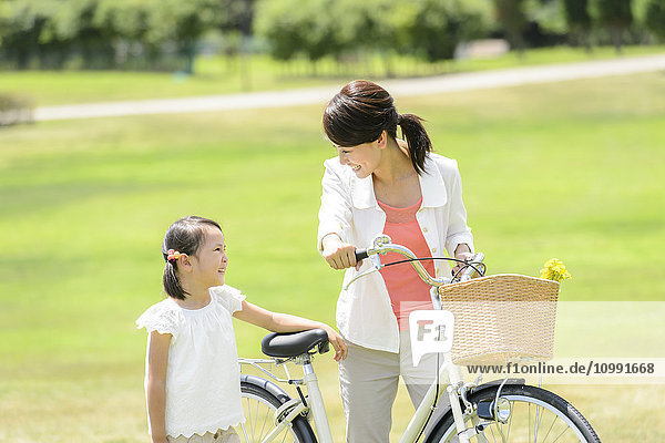 Japanese kid with mother at the park