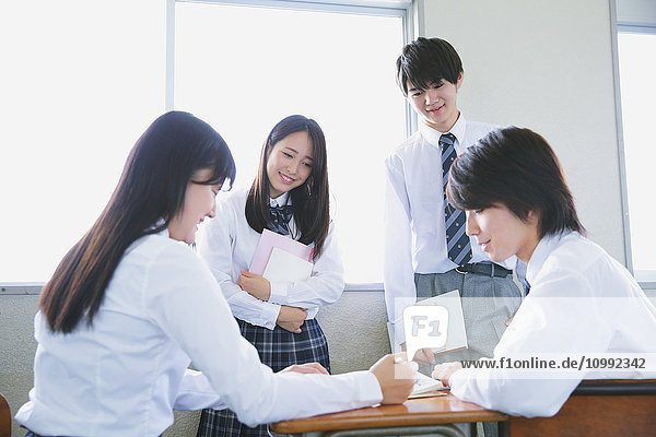 Japanese high-school students after class