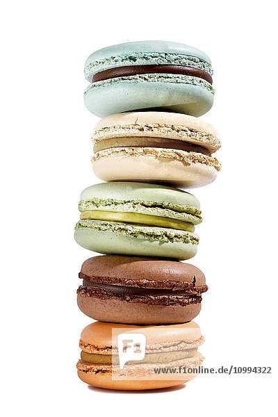 Stack of Macarons on White Background