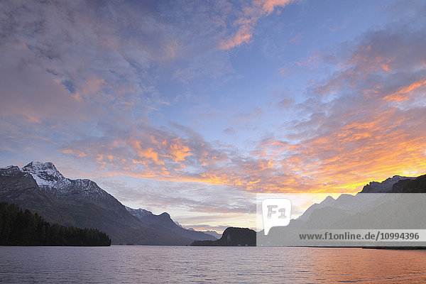 Silsersee at Sunset  Engadin  Grisons  Switzerland