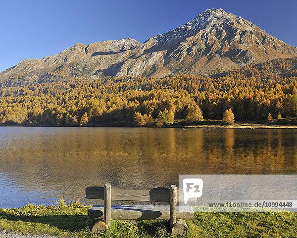 Wooden Bench on Lakeshore  Silsersee  Maloja  Engadin  Canton of Graubunden  Switzerland