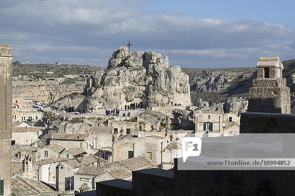 Santa Maria de Idris  one of the oldest rock churches in Matera  entirely excavated in the limestone  Matera  Basilicata  Italy