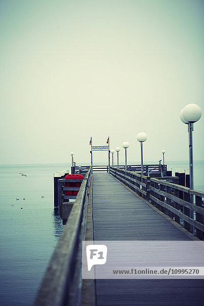 View of Empty Dock at Coast of Baltic Sea in Winter  Kuhlungsborn  Mecklenburg-Vorpommern  Germany