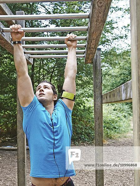 Man doing fitness trail.