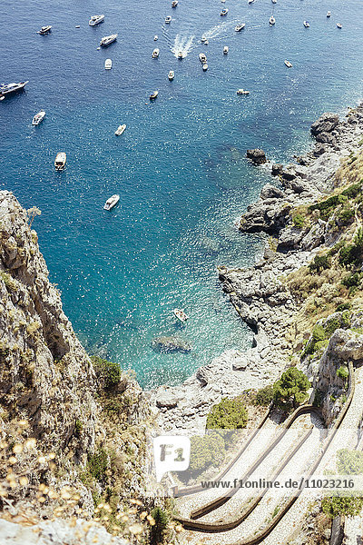 High angle view of boats sailing in sea at Amalfi Coast