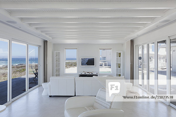 White living room in home showcase beach house