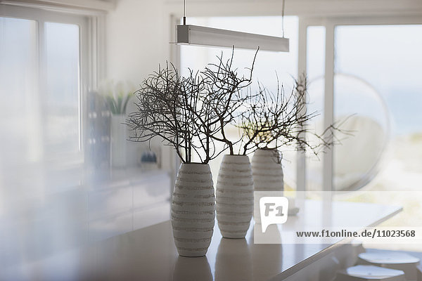 Modern white vases with branches on kitchen island